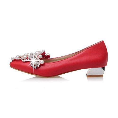 VogueZone009 Femme Fermeture D'Orteil Pointu Tire Pu Cuir Couleur Unie à Talon Bas Chaussures Légeres Rouge
