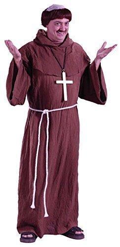 Herren 5 Stück Mittelalterlich Braun Mönch + Perücke Friar Tuck Religiös Kostüm Kleid Outfit STD XL - Braun, Standard XL
