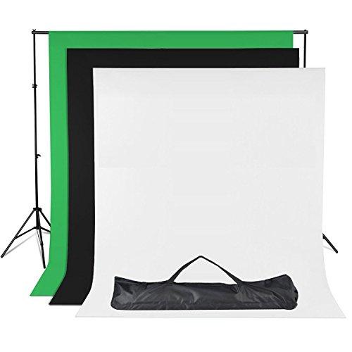 BPS Backdrop Kit Fondo Muselina y Soporte para Fotografía de Estudio Retrato y Vídeo - 2x3m Sistema soporte de fondo + 3 Colores Fondos 2.8x1.8m / 6x9