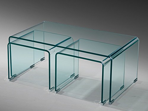 Glastisch Couchtisch Beistelltisch 3er Set gebogen ESG Glas -