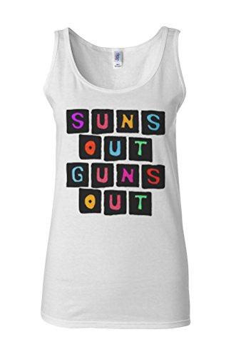 Suns Out Guns Out Gym Muscle Novelty White Femme Women Tricot de Corps Tank Top Vest **Blanc