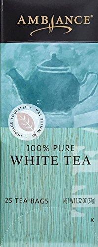 1.32oz Ambiance 100% Pure White Tea, 25 Tea Bags (One Box Per Order)