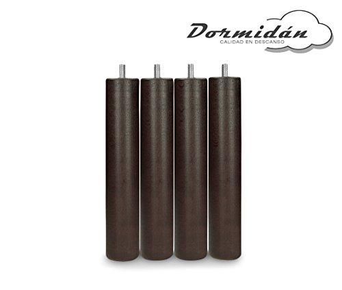 Dormidán - Patas redondas de madera, ( 6 unidades ) métrica 10 para somier o base tapizada color … (Wengué)