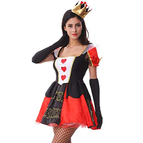 Skelett Kostüm Prinzessin - Subfamily Halloween Kostüm Damen Prinzessin Cosplay Verkleiden Rüschen Maschen Tutu Kleider Kurz Sexy Krone Handschuhe Party Maskerade Mottoparty Karnevalsumzug (XL, Rot)