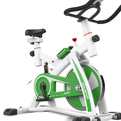 KuaiKeSport Heimtrainer Fahrrad für Zuhause,Indoor Cycle Komfortsattel Elektromagnetisch Spinning Fahrrad,Ergometer Fahrrad Verstellbarer Lenker Widerstand Mit Wasserkocher und Fußmatten,Green