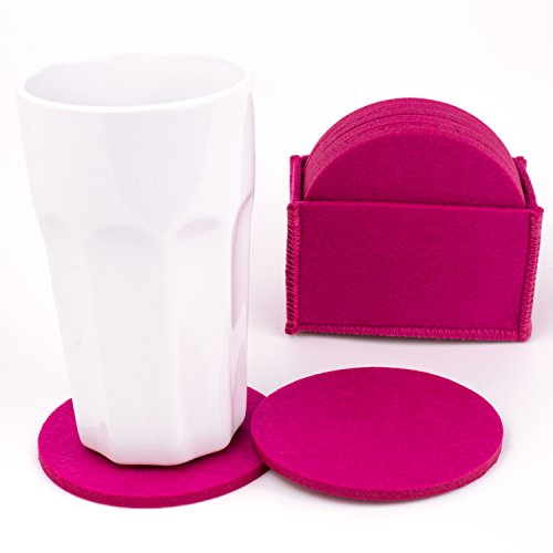 CHARLES DAILY PREMIUM FILZUNTERSETZER – 8er-Set – Glasuntersetzer in genähter Box – Untersetzer für Gläser, Becher, Tisch, Bar & Büro – pink
