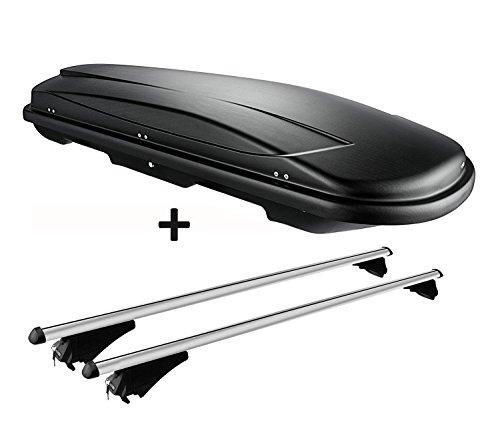 VDP Dachbox Schwarz Juxt 400 großer Dachkoffer 400 Liter abschließbar + Alu-Relingträger Dachgepäckträger für aufliegende Reling im Set für Audi A6 4G Avant ab 11