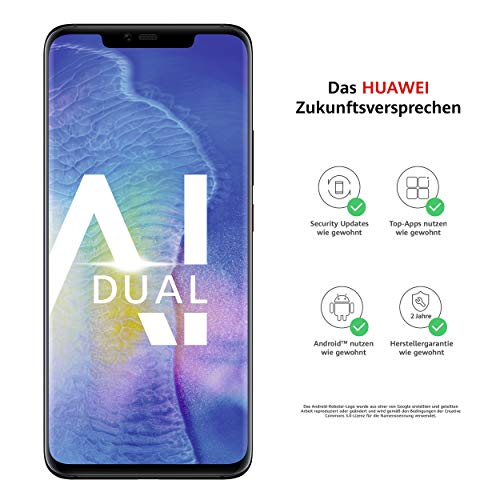 Huawei Mate20 Pro Dual-SIM Smartphone Bundle (6,39 Zoll, 128 GB interner Speicher, 6 GB RAM, Android 9.0, EMUI 9.0) schwarz + USB Typ-C-Adapter [Exklusiv bei Amazon] - Deutsche Version - Für Iphone Ultra-sim-karte 6