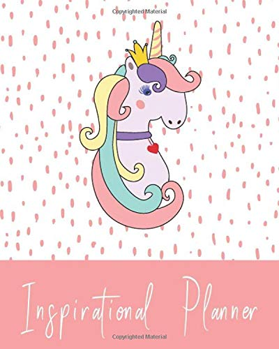 """Inspirational Planner: 2019.  Cute Unicorn Pattern Theme Monthly/weekly/daily organizer + New Year resolution list, shopping tracker, Books-to-read ... motivational quotes. 8"""" by 10"""", 165 pages por DiaPrintLab"""