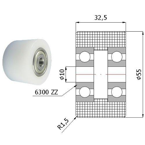 Zabi Doppelte Kunststoff-Polyamid-Rollen Nylon mit Kugellager Ø 55mm