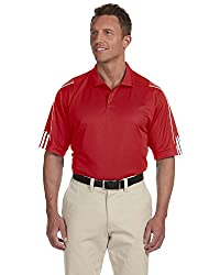 Adidas Golf Men's Climalite 3-stripes Cuff Polo Sport Shirt- University Red White A76 Xxl