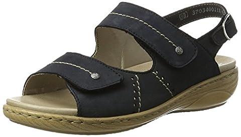 Rieker Damen V2362 Offene Sandalen mit Keilabsatz, Blau (Ozean / 14), 37 EU