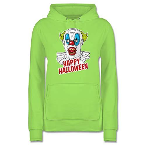 Shirtracer Halloween - Happy Halloween - Clown - S - Limonengrün - JH001F - Damen Hoodie (Alternative Halloween-kostüme 2019)