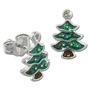 Tee-Wee Kinder Ohrring Weihnachtsbaum grün mit Zirkonias