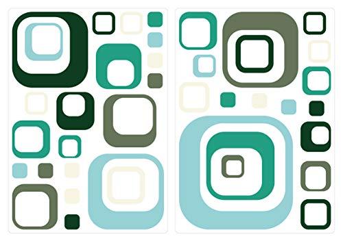 dekodino® Wandtattoo Retro Cubes blau schwarz braun 40 Stück Wohnzimmer Deko - Muster Für Cubes