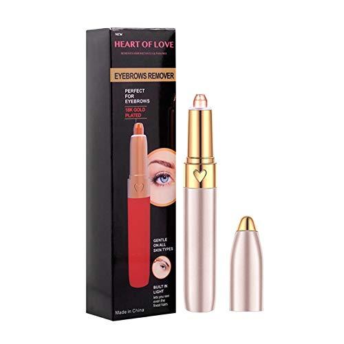 ROMANTIC BEAR Tragbares USB Augenbrauen-Haarentferner Schmerzlos-Präzisions-Augenbrauen-Trimmer-Augenbrauen-Rasiermesser-Werkzeug für Gesichtslippen-Nasen-Gesichtshaar-Abbau für Männer Frauen -