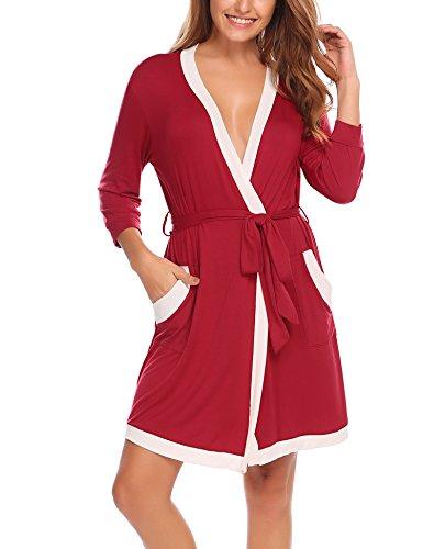 HOTOUCH Damen Morgenmantel Bademantel Nachtwäsche Kimono Saunamantel Mit Tiefer V-Ausschnitt Schlafanzug Aus Baumwolle Dunkelrot