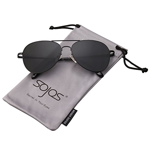 Women Men Aviator Mirrored Sunglasses with Spring Hinges SJ1030 With Black Frame/Grey Lens