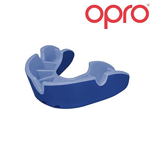 OPRO Mundschutz Silver Junior - Kinder Zahnschutz- für Handball, Rugby, Karate, Hockey, MMA, Boxen - selbst anformbar - mit Zahngarantie von bis zu 7.500 € - im UK entworfen & hergestellt (Blau/Hellblau)