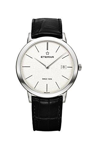 Eterna Eternity Gent Quartz Uhr, ETA 955.112, 40mm, Silber, Tag, 2710.41.10.1383