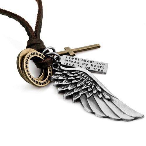 Boolavard ® TM - Catena uomo in pelle Vintage angelo Feather Eagle Wing Cross Collana (INCLUDE REGALO ESCLUSIVO Boolavard ®)