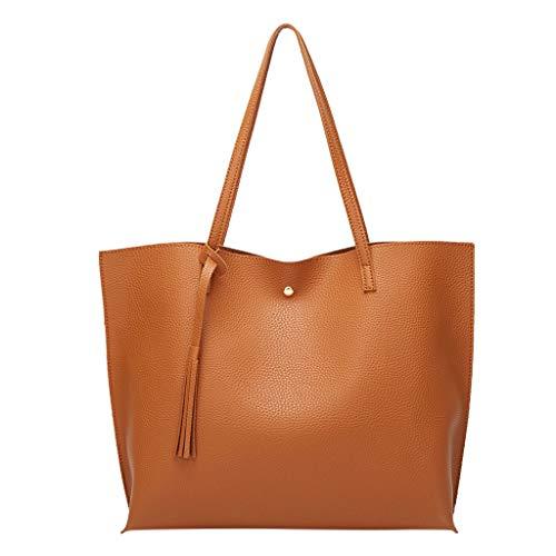 KIMODO Damen Quasten Ledertasche Handtasche Frauen Einfarbig Tote Umhängetasche Elegante Große Kapazität Henkeltasche Einkaufstasche (Braun)