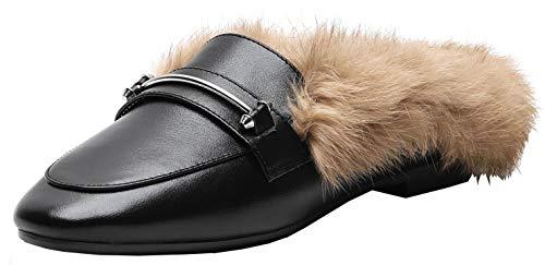 Kittcatt Damen Flache Loafer Pantoletten Slipper Flat Mules Halbschuhe mit Fell Warm Schuhe