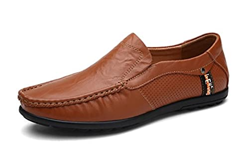 TDA Men's Classic Ruched Oversize Red Brown Leather Driving Loafers Boat Shoes 10.5 M UK