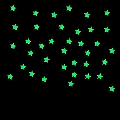 kingwo 100pc Sticker Mural Fluorescent pour Chambre d'enfant Étoiles Lumineuses Autocollants Lumineux (Rose)