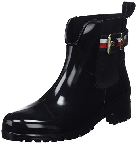 Tommy Hilfiger Damen Corporate Belt RAIN Boot Gummistiefel, Schwarz (Black 990), 40 EU