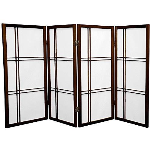 ORIENTAL FURNITURE Orientalische Möbel, 90 cm, Kreuzschlüpfe, japanische Shoji Sichtschutz, Raumteiler, 4-teilig, Walnuss -