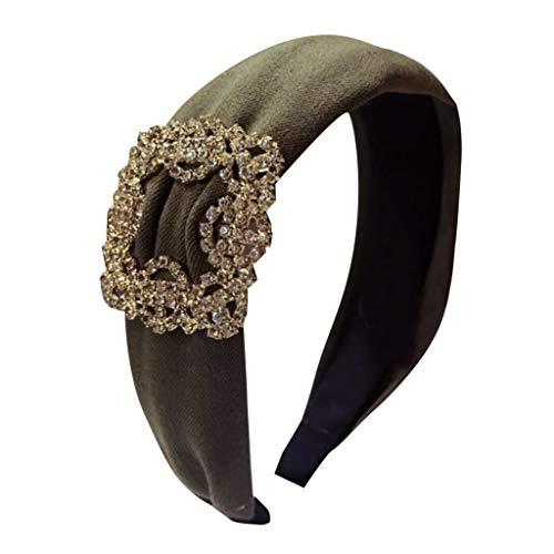TOPGKD beliebt Diamond Super Flashing Solid Color Stoff mit breiter Krempe Lady StirnbandIns (Pretty Woman Kostüm Schmuck)