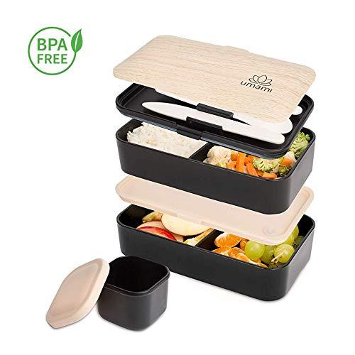Umami lunch box nero bambù | contenitore porta pranzo ermetico 2 scomparti e 3 coperchi con posate e porta condimento| per microonde e lavastoviglie | contenitori alimentari bento box portatile no bpa