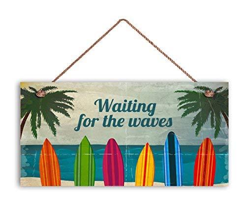 Monsety Surfschild Waiting for The Waves Bunte Surfbretter wetterfest 5 x 10 Strand Strand Haus Surfen Holzschild, lustige Wanddekoration, Gartenschilder und Schilder