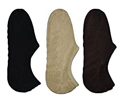 Me Stores Men's Loafer Socks Solid Socks With Silicon Support (Pack Of 3)