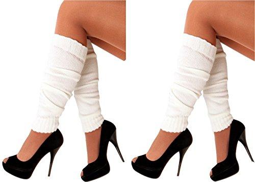 krautwear® 2x Damen Beinwärmer Stulpen Legwarmers Overknees gestrickte Strümpfe 80er Jahre 1980er Jahre (2x weiss)