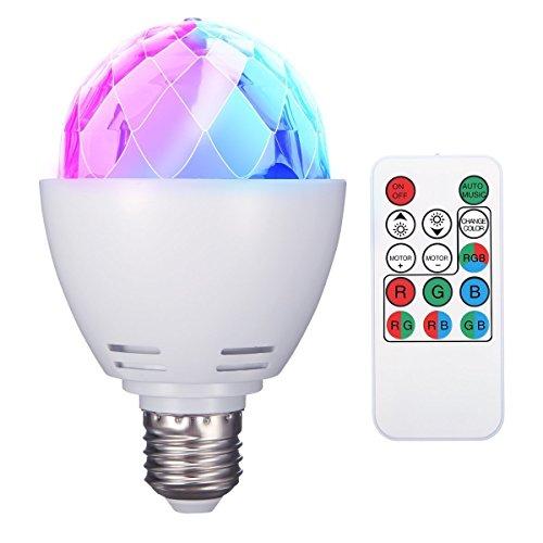 E27 RGB LED Partybeleuchtung Lichteffekte Bühnenlampen Glühbirnen Partylicht Lampe Fernsteuerung für Geburtstagsparty Hochzeitsfest Weihnachten Halloween (Batterie inkl.) ()