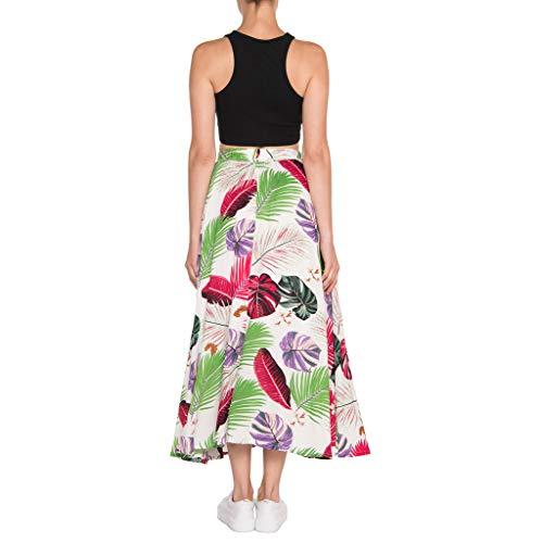CUTUDE Damen Röcke, Frauen Sommer A-Linie Floral Hohe Taille Gedruckt Freizeitkleid Vintage Röcke Party Plissee ausgestelltes Kleid Midi Röcke (Weiß, X-Large) (Musik Halloween, Jahre 50er)