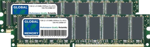GLOBAL MEMORY 1GB (2 x 512MB) DDR 266/333/400MHz 184-PIN ECC DIMM (UDIMM) ARBEITSSPEICHER RAM KIT FÃœR SERVERS/WORKSTATIONS/MAINBOARDS
