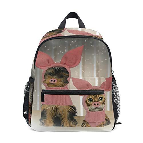 Kinderrucksack Welpen Kätzchen Schwein Kostüm Kindergarten Vorschule Tasche für Kleinkind Mädchen Jungen