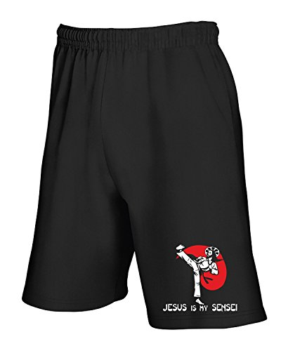 Cotton Island - Pantalone Tuta Corto TAM0063 jesus is my sensei black tshirt Nero
