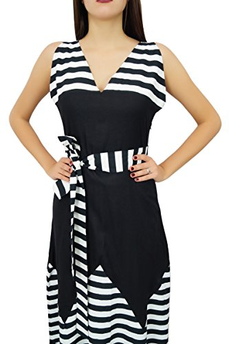 Bimba longue maxi robe sans manches robe de rayonne noire chics de vacances Noir