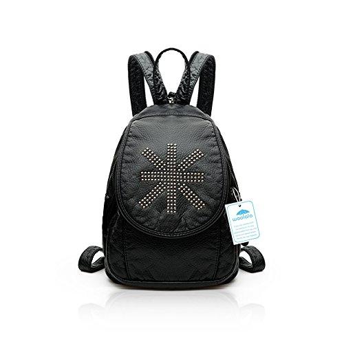 Yoome Washed Leder Flapover Rucksack Lässige Reisetasche Daypack Handtasche Schultertasche Hnadbag Britische Flagge