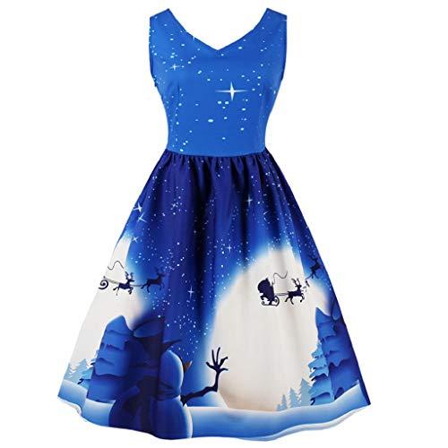 Soupliebe Plus Size Damen Santa Weihnachtsfeier Kleid Vintage Xmas Swing Skater Dress Abendkleider Cocktailkleid Partykleider Blusenkleid