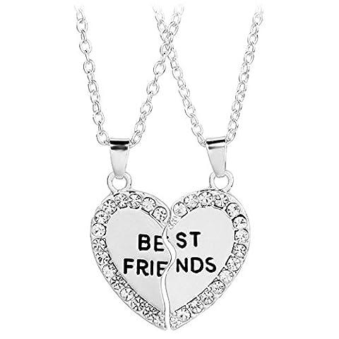 Contever® 1 Satz 2 Stück Simulierter Diamant Halbherzanhänger Beste Freunde Halskette Freundschaft Geschenk, Halskette Länge: 50 cm - Silber