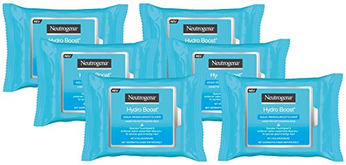 Neutrogena Hydro Boost Aqua Reinigungstücher - Mit der Neutrogena Reinigungstechnologie, Hyaluronsäure und einem Feuchtigkeitsspender - 6 x 25 Stück