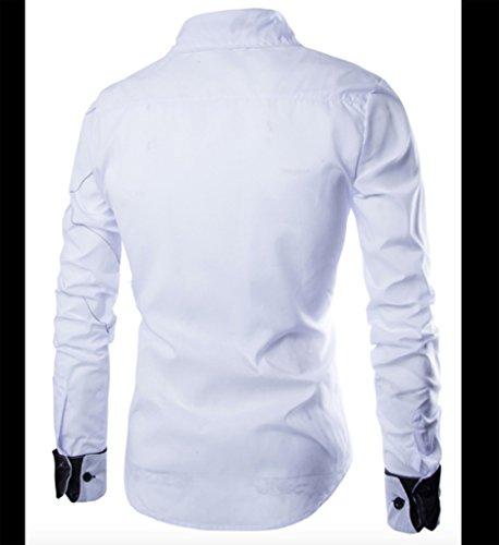 WSLCN Herren Schick Langarm Freizeithemden Kontrastfarbe Slim Weiß