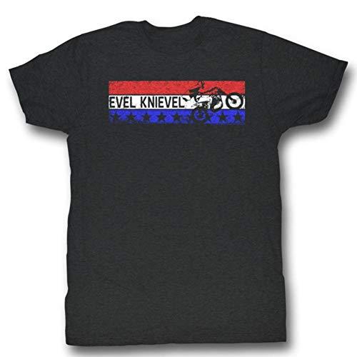 Evel Knievel Americana T-Shirt für Erwachsene Gr. XL, Charcoal Heather (Evel Knievel Kostüm Shirt)