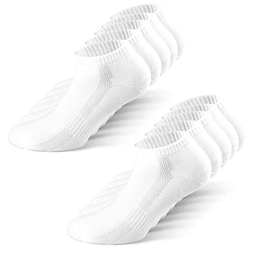 YouShow Sneaker Socken Herren Damen 10 Paar Atmungsaktives Mesh Sportsocken Kurze Halbsocken Baumwollsocken (Weiß, 47-50)