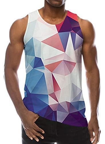 Loveternal Tank Top Herren Geometrisch Weste 3D Druck Muskel Shirt Casual Sommer Ärmelloses T-Shirt L